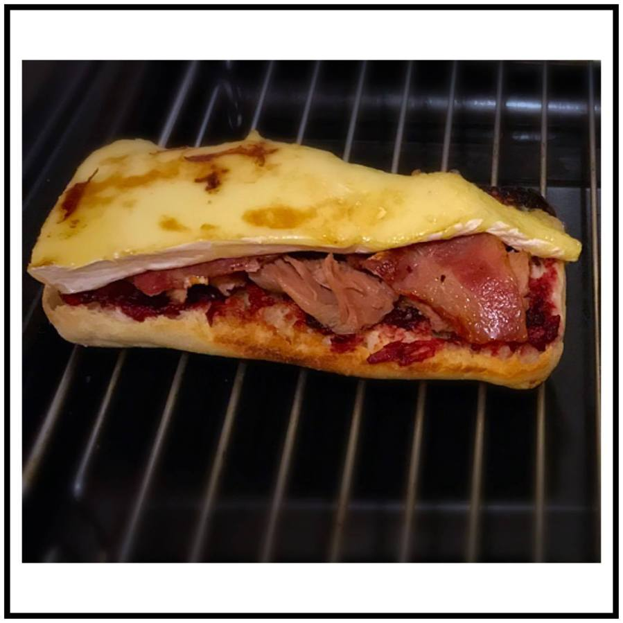BLOGMAS: A Huge Bite of Christmas – Turkey, Bacon, Brie and CranberryPanini