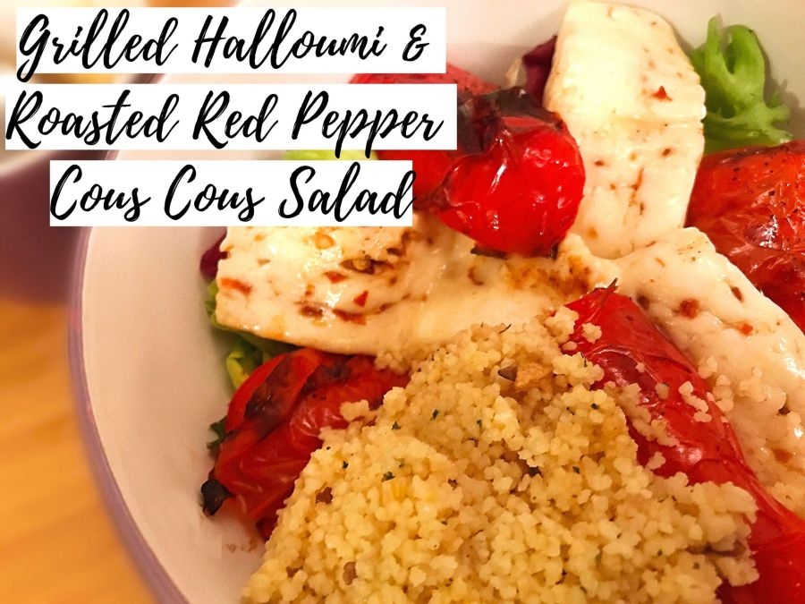 Grilled Halloumi and Roasted Red Pepper Cous Cous Salad