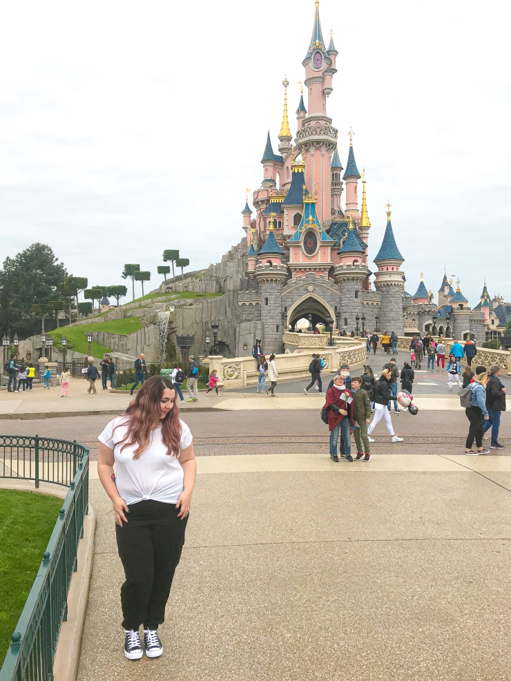 Standing in front of Sleeping Beauty's Castle