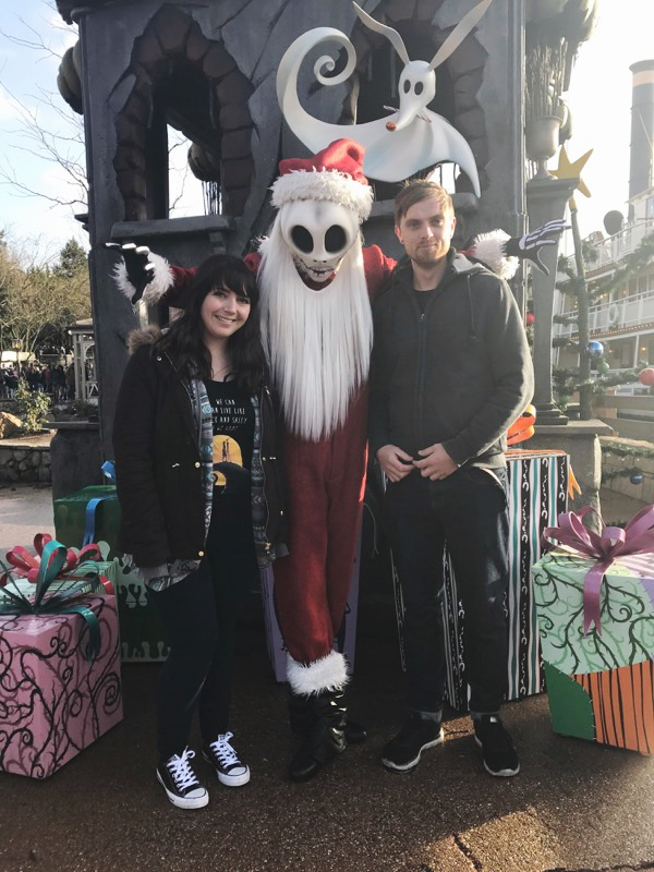 Meeting Santa Jack Skellington during the Christmas season