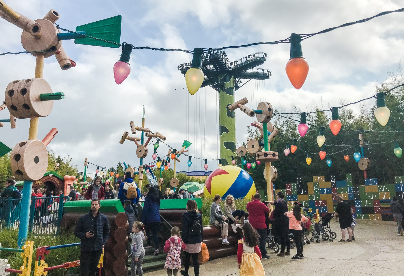 Toy Story Playland at Disneyland Paris featuring the Toy Soldiers Parachute Drop ride