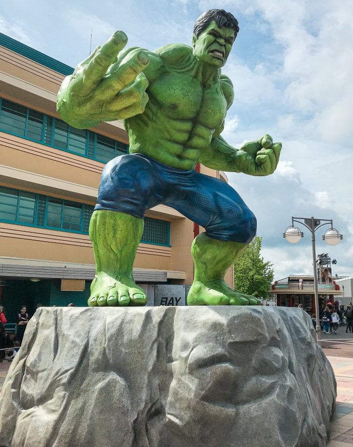 Incredible Hulk statue during Marvel Summer of Super Heroes season at the Walt Disney Studios Park