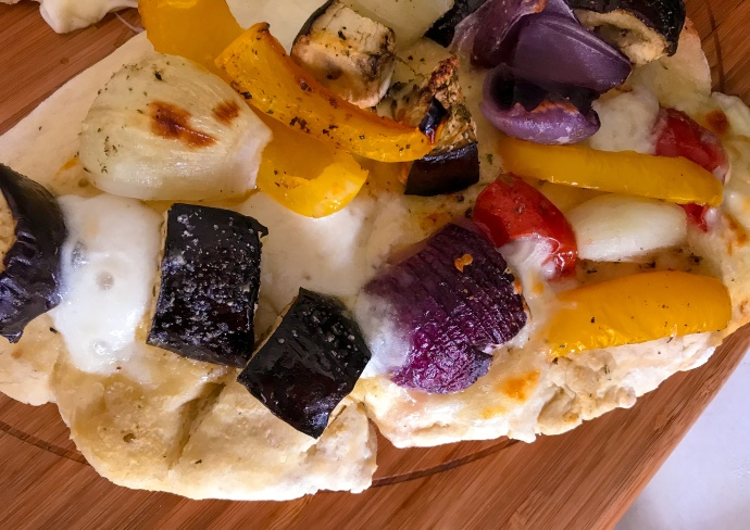 Roasted vegetable, mozzarella and garlic flatbread