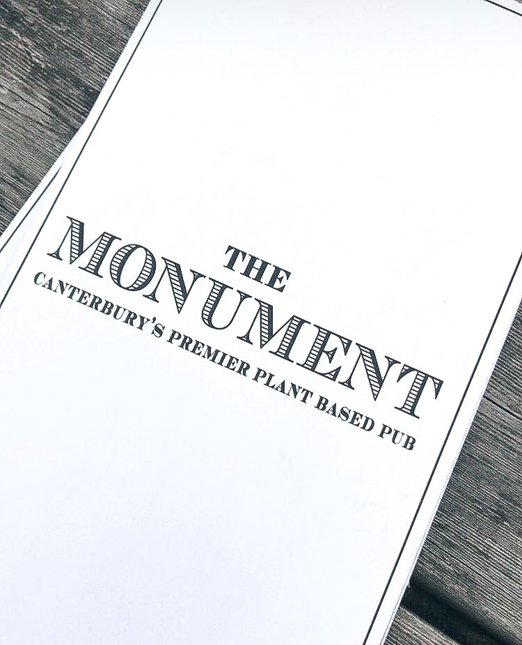 Menu for plant-based pub The Monument in Canterbury